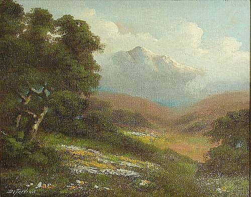 Richard DeTreville (American, 1864-1929) A view of Mt. Tamalpais 11 x 14in