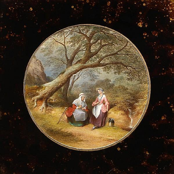 Charles Frederick Buckley (British, 1812-1869) An old woman and a maiden in a landscape diameter 12in