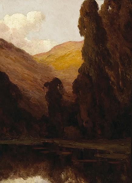 Giuseppe Cadenasso (Italian/American, 1858-1918) Silent pool near San Leandro, California 29 x 21in