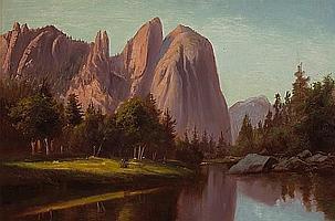 Frederick William Billing (American, 1835-1914) Merced River, Yosemite 12 x 8 1/2in