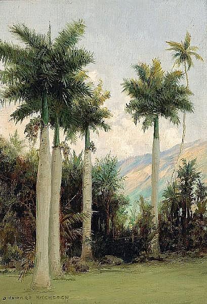 David Howard Hitchcock (American, 1861-1943) Royal Palms at Moanalua, near Honolulu 20 x 14 1/4in