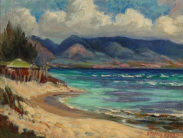 Shirley Marie Russell (American, 1886-1985) Near Haleiwa, Hawaii 12 x 16in