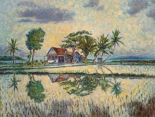 Shirley Marie Russell (American, 1886-1985) Old Hawaiian house, Waipahu 18 x 24in