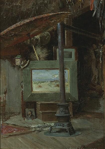 John Bond Francisco (American, 1863-1931) The artist's studio 11 3/4 x 8 1/2in