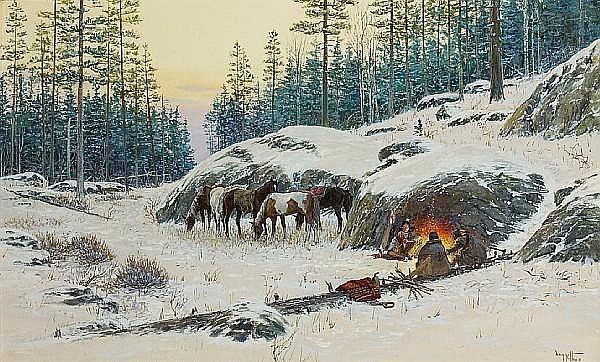 Noël Daggett (American, 1925-2005) The smokeless fire (Blackfeet Indians), 1990 18 x 29 1/2in