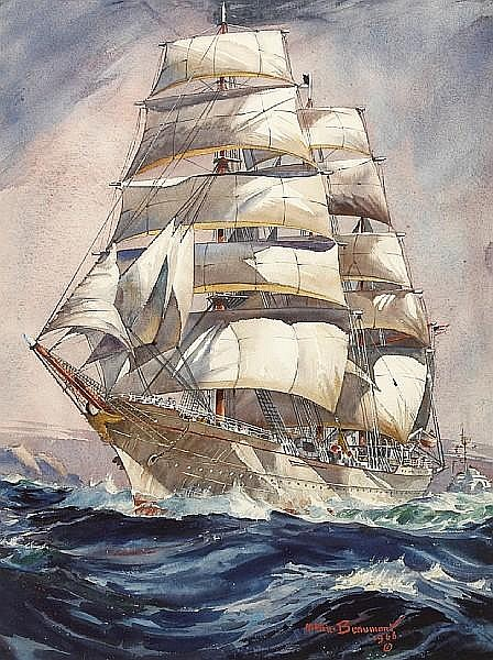Arthur Edwaine Beaumont (American, 1890-1978) U.S.C.G. Eagle training ship, 1966 24 x 17 3/4in