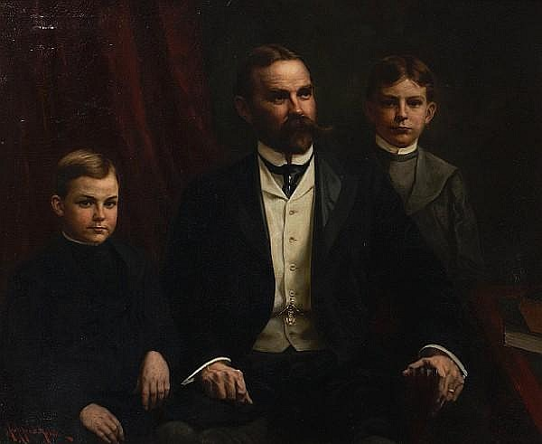 John Alfred Mohlte (American, born 1865) A gentleman and his two sons 37 x 46in