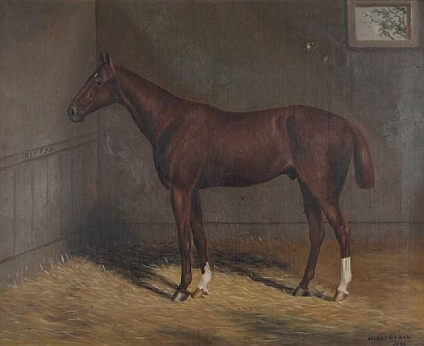 Harry Lyman (American, 1856-1933) The horse Rinfax in a stable 22 x 27in