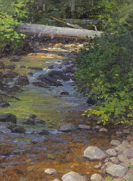 Ralph Edward Oberg (American, born 1950) Fern Creek Study, Glacier, Montana 16 x 12in