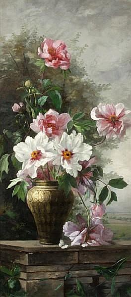 Helen Iversen (German, 1870-1930) Still life with flowers 38 1/8 x 17 3/16in
