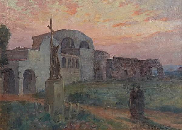Harold Harrington Betts (American, 1881-1951) Capistrano Mission at Sunset 26 x 36in
