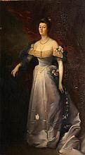 Jean Jules Antoine Lecomte Du Noüy (French, 1842-1923) A portrait of Lady Bateman, full-length, standing by a balustrade 85 1/2 x 51 3/4in