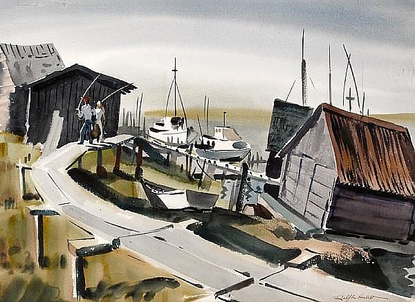 Ralph Hulett (American, 1915-1974) Home from fishing sight: 20 1/2 x 28 1/2in