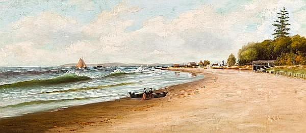 Albert Horatio Slade (American, 1843-1922) Beach at Ventura, California 18 x 40in