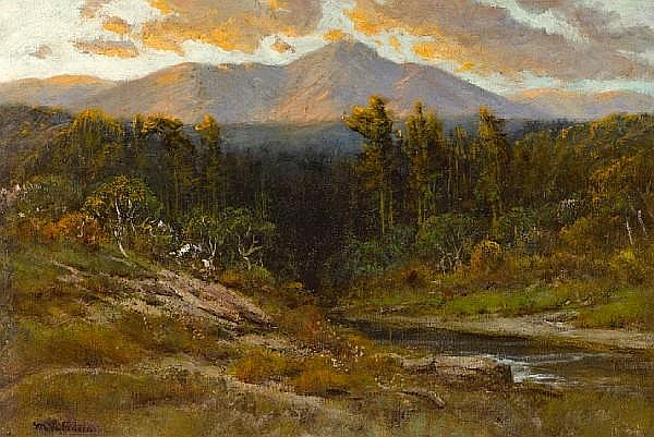 Manuel Valencia (American, 1856-1935) Sunset at Mount Tamalpais 20 x 30in