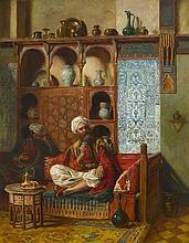 JOHN BAGNOLD BURGESS, RA (BRITISH, 1830-1897) Arabs drinking tea in an interior
