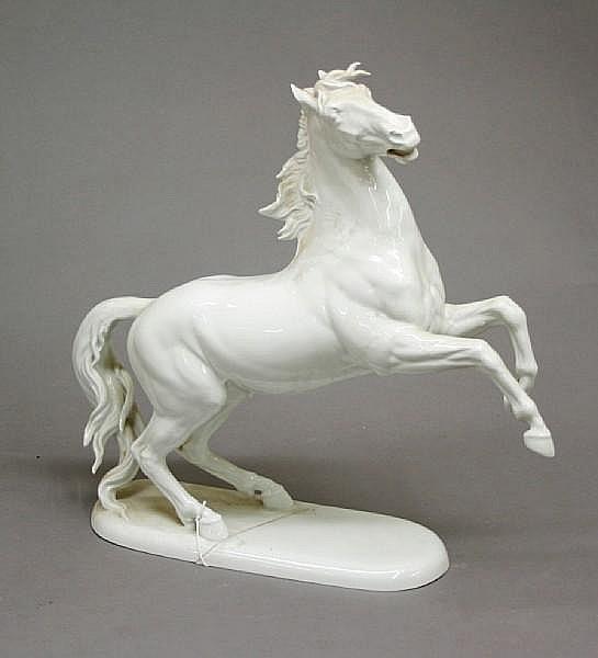 A Rosenthal porcelain blanc de chine model of a rearing horse after Hugo Meisel (1887-1966)