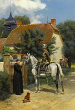 A halt in the village 24 3/4 x 17 1/4in (62.8 x 43.8cm)