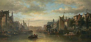 Elias Pieter van Brommel (Dutch, 1819-1890) A view of Amsterdam 18 3/4 x 39 1/2in (47.5 x 100.5cm)