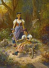 Hans Zatzka (Austrian, 1859-1949) Lustige Fahrt (An amusing ride) 31 1/2 x 33in (80.0 x 83.8cm)