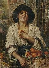Antonio Mancini (Italian, 1852-1930) Venditrice d'aranci (The orange seller) 29 1/2 x 29 3/4in (75 x 75.5cm)
