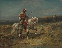 Adolf Schreyer (German, 1828-1899) An Arab horseman on the look-out 11 x 13 7/8in (28 x 35cm)