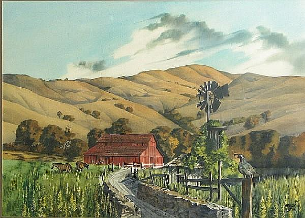Bruce Lattig (American, born 1933) Road to the Red Barn sight 20 1/2 x 29in