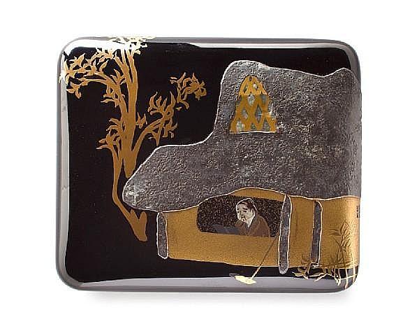 A lacquer tobacco box By Kamisaka Sekka (1866-1942)
