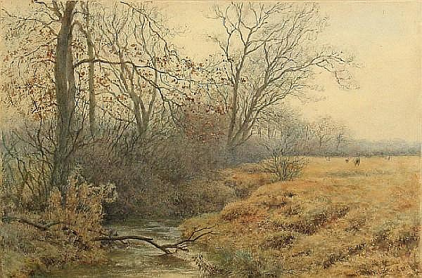 Wilmot Pilsbury, RWS (British, 1840-1908) Winter sight 9 1/2 x 14 1/2in