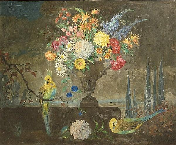 Geoffrey Holt (American, 1882-1977) A Still Life with Flowers and Birds 30 x 38in