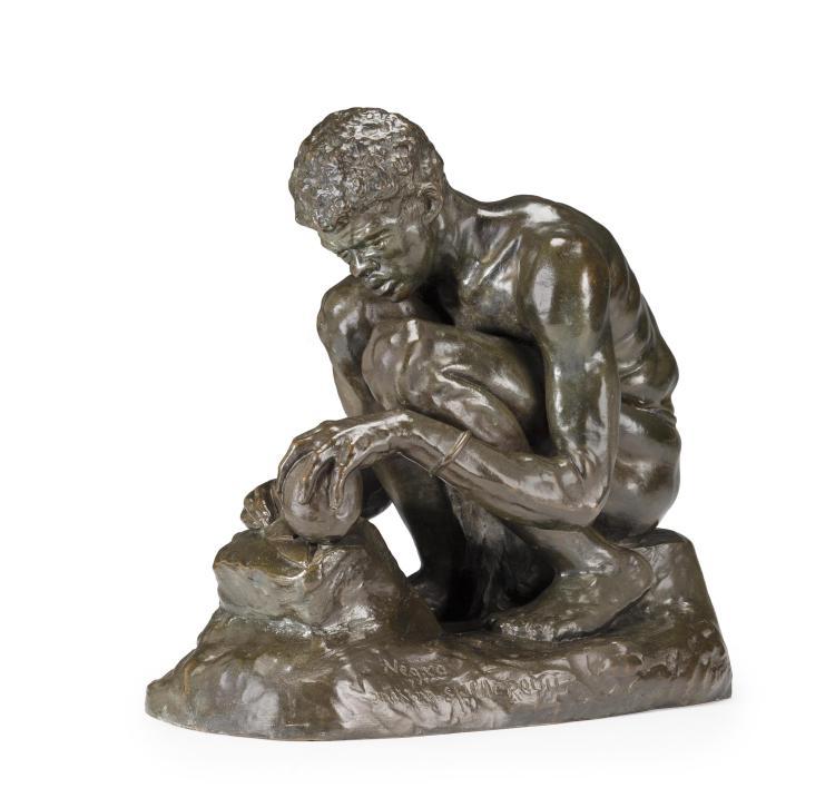 A patinated bronze sculpture: Making a SpearpointCasper Mayer (American, 1871-1931)circa 1899 Fine Furniture, Silver, Decorative Arts & Clocks