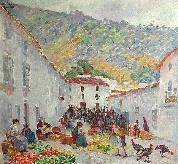 Francisco Prieto (Spanish, 1884-1967) Spanish street scene with farmer's market, 1928 21 3/4 x 23 1/4in