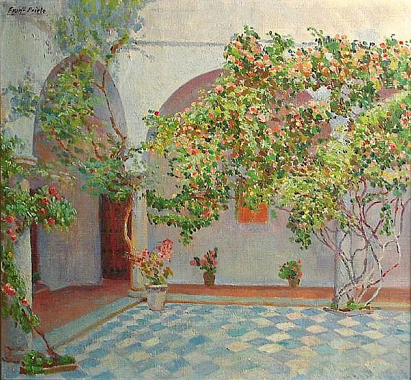 Francisco Prieto (Spanish, 1884-1967) Courtyard with blue tile 20 x 21 3/4in