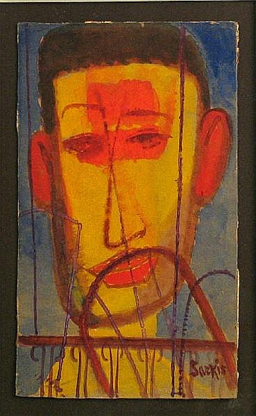 Sarkis Sarkisian (American, 1909-1977) Head of a man sight: 10 x 6