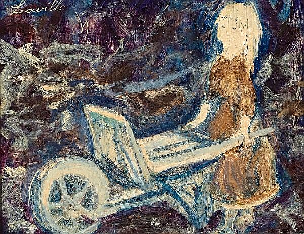 Henri Laville (French, born 1916) A little girl with a wheelbarrow 8 x 9 1/2in