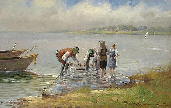 Carl Müller-Baumgarten (German, 1879-1946) A fisherman with his net 10 1/4 x 15 1/2in