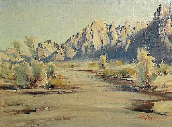Frederick Richard Chisnall (1887-1965) Desert light; Desert brush (a pair) each 12 x 16in