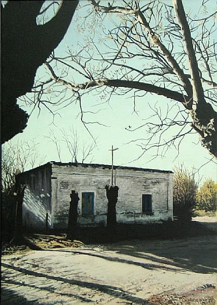 Marcos Borio (Argentinian, born 1949) Untitled (Chapel amongst the trees), 1991 27 1/4 x 19 3/4in