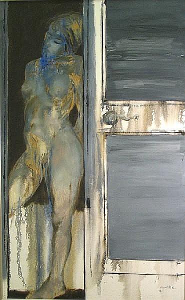 Julio Lavallen (Argentinian, born 1957) Desnudo azul, 1992 64 x 38in