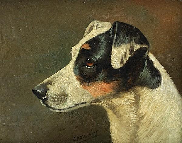 John Arnold Wheeler (British, 1821-1903) Head studies of Terriers: Two each 7 1/16 x 8 7/8 in. (18 x 22.5 cm.)