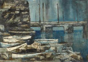 Hsieh Hsiao Teh (b. 1940) - -Landscape with Boats