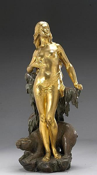 A French gilt and patinated bronze figure of an ice maiden