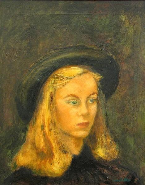 Helen Ratkai (born 1914) Portrait of a young woman with a hat 20 x 16in