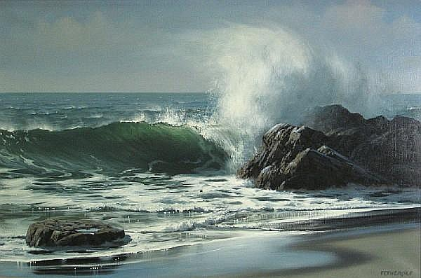James A. Fetherolf (American, 1925-1994) Waves crashing against a rocky shore 24 x 36in