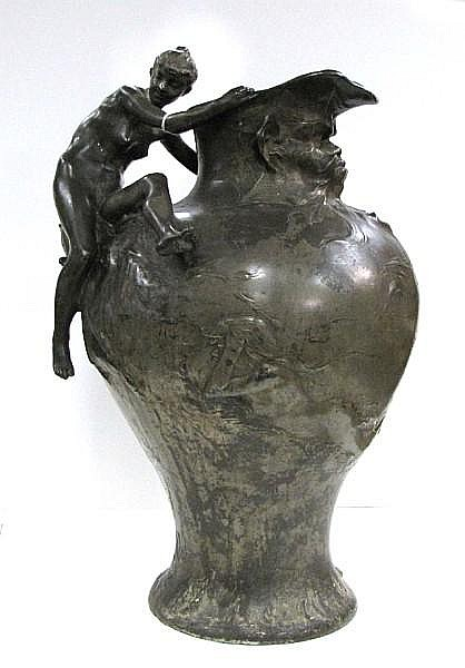 A French Art Nouveau white metal figural ewer after a model by Auguste Ledru (1860-1902)