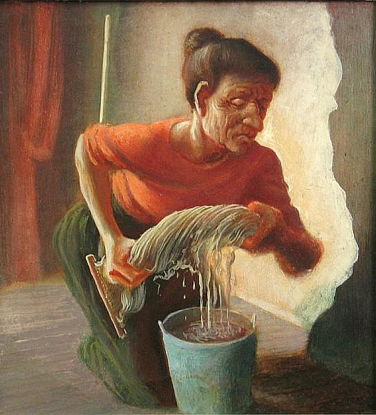 John Stockton De Martelly (American, 1903-1979) Washer woman 13 1/4 x 12 1/4in