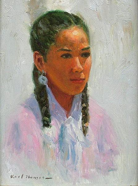Karl Thomas (American, born 1948) Girl in pink 8 x 6in