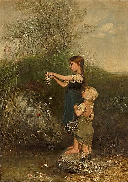 Emil Keyser (Swiss, 1846-1923) Young sisters 21 3/4 x 15in (55 x 39cm)