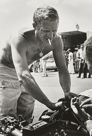 BARRY FEINSTEIN (1931-2011) Steve McQueen, Shirtless, Riverside Race Track, California