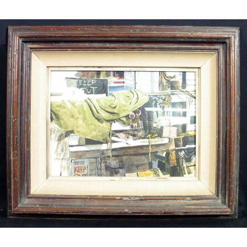 "Gerald F. Brommer, ""The Green Tarp"", Watercolor, framed"
